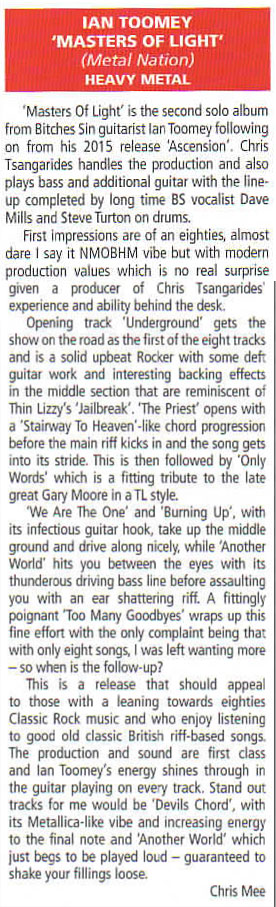 Ian Toomey Review 'Master of Light' - Fireworks' rock magazine (Spring Edition 2017)